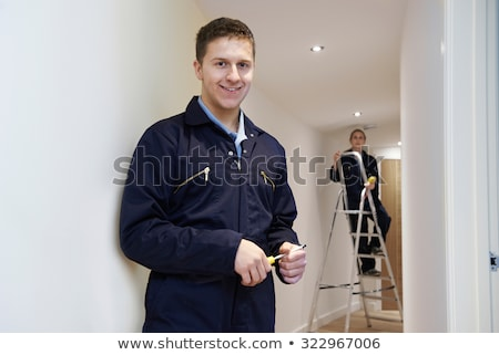 Elektricien leerling ladder man bouw ontwerp Stockfoto © photography33