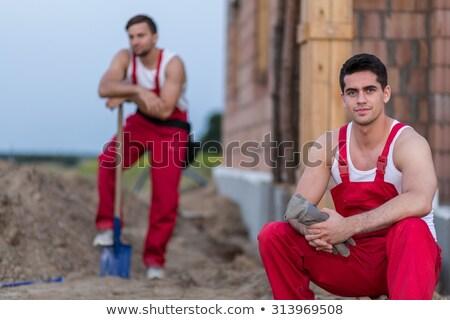 Yorgun oluşturucu maça adam çalışmak ev Stok fotoğraf © photography33