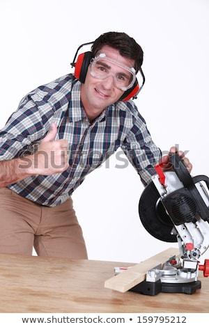 Fűrész kezek fa építkezés dolgozik ipari Stock fotó © photography33