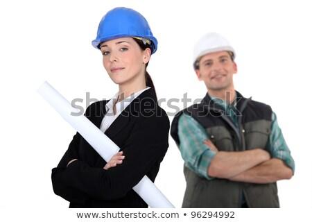 kereskedő · kettő · remek · kezek · építkezés · kalap - stock fotó © photography33