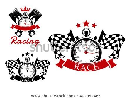 Stopwatch with checkered flag. Stock photo © tashatuvango