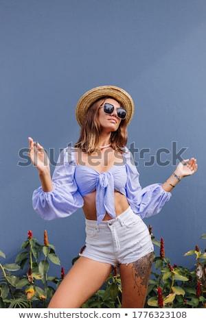 Felső kalap termény meztelen nő lovaglás Stock fotó © dolgachov