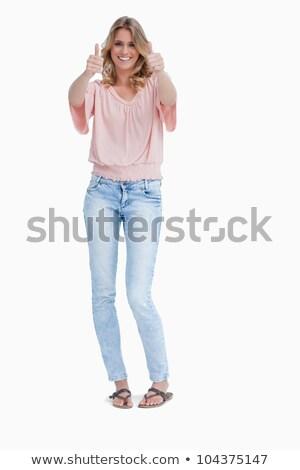 mosolygó · nő · remek · fehér · háttér · mosolyog · áll - stock fotó © wavebreak_media
