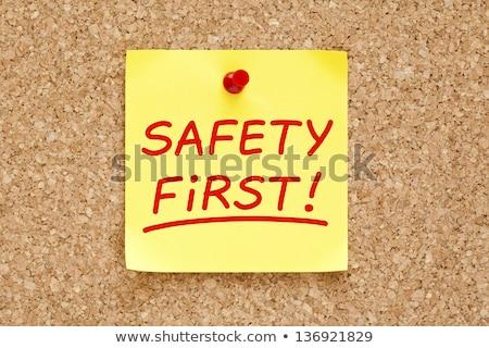 Stock fotó: Biztonság · első · öntapadó · jegyzet · írott · citromsárga · piros