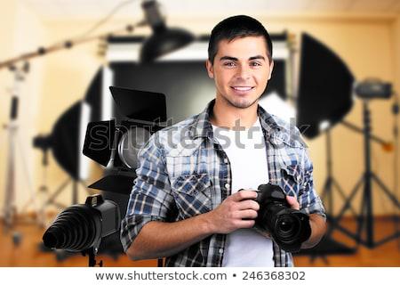 小さな 男性 カメラマン カメラ 白 立って ストックフォト © wavebreak_media