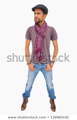 Férfi visel sapka sál másfelé néz fehér Stock fotó © wavebreak_media