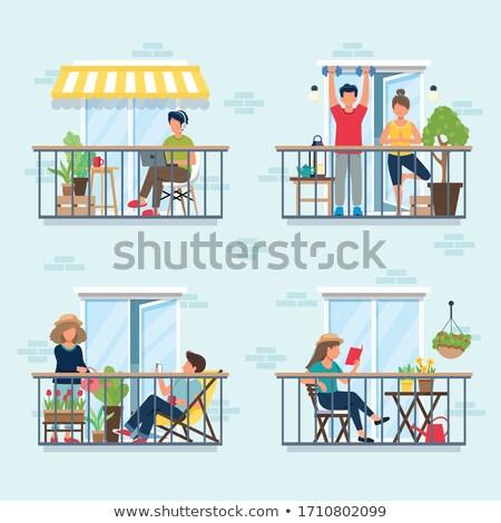 Flat balconies Stock photo © fxegs