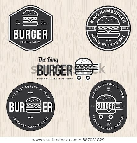 Vektör ikon Burger ev gıda kapı Stok fotoğraf © zzve