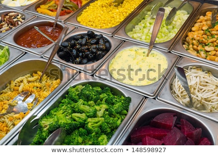 Detail salade buffet voedsel gezondheid restaurant Stockfoto © elxeneize