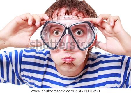 Vicces fiatal felnőtt snorkeling folyó védőszemüveg búvár Stock fotó © aetb