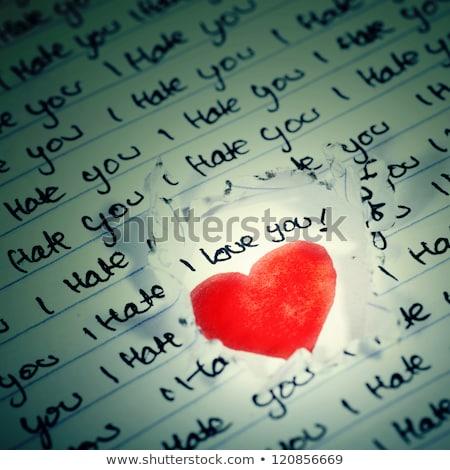 Szeretet gyűlölet szavak fotó kéz ír Stock fotó © maxmitzu