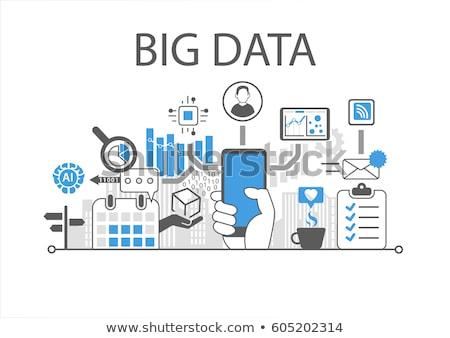 Big Data on Blue in Flat Design. Stock photo © tashatuvango