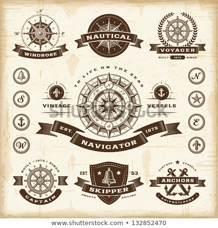 anchors with ribbons and frames vector set stock photo © beaubelle