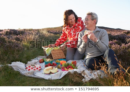 casal · piquenique · mulher · amor · natureza · relaxar - foto stock © monkey_business