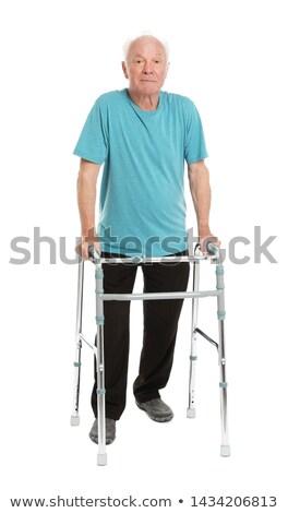 sorridente · senior · homem · cadeira · de · rodas · casa · médico - foto stock © meinzahn