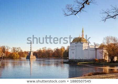 Winter  landscape with Turkish Bath  pavilion and lake Stock photo © Pilgrimego