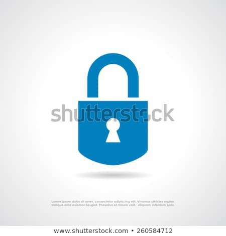 Padlock icon on blue button Stock photo © blumer1979