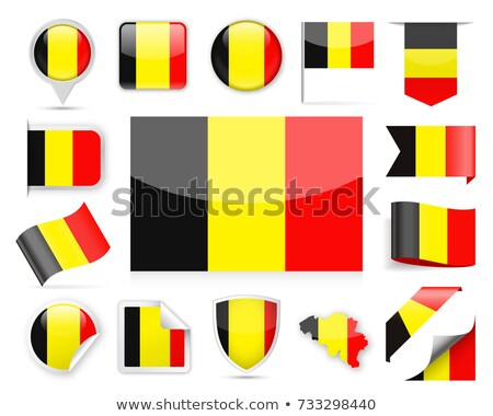 Tér címke zászló Belgium izolált fehér Stock fotó © MikhailMishchenko