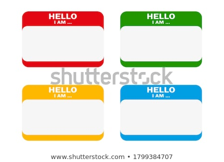 Hello I Am Blank Blue Name Tag Sticker Stock photo © iqoncept