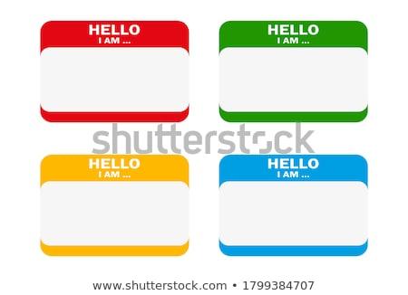 hello i am blank blue name tag sticker stock photo © iqoncept