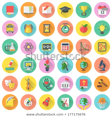 Flat Round School Subjects Icons with Long Shadows Stock photo © vectorikart
