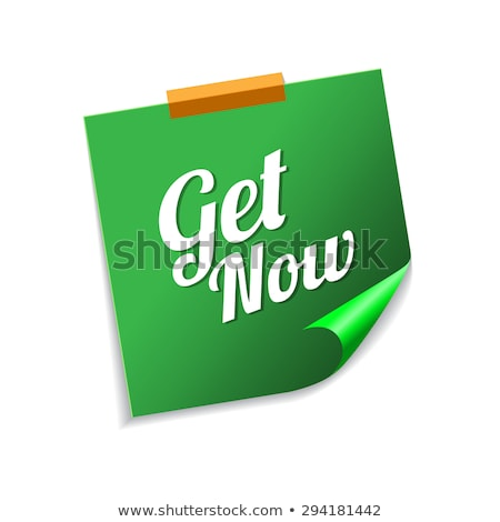 Get Now Green Sticky Notes Vector Icon Design Stock photo © rizwanali3d