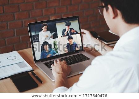 homem · de · negócios · laptop · isolado · negócio · escritório · mão - foto stock © fuzzbones0