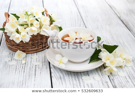 cup of green tea with jasmine flowers isolated on white stock photo © tetkoren