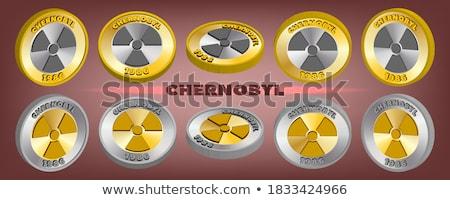 radioactive sign golden vector icon button stock photo © rizwanali3d