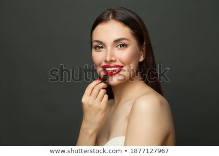 mujer · lápiz · labial · rojo · peinado · ojo · moda · diseno - foto stock © morphart