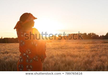 Afrikai nő naplemente illusztráció fa narancs Stock fotó © adrenalina