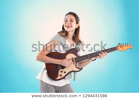 Electro guitar player playing and singing. practice Stock photo © Paha_L