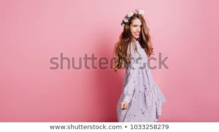 gülen · sevimli · kadın · çelenk · güller · bakıyor - stok fotoğraf © deandrobot