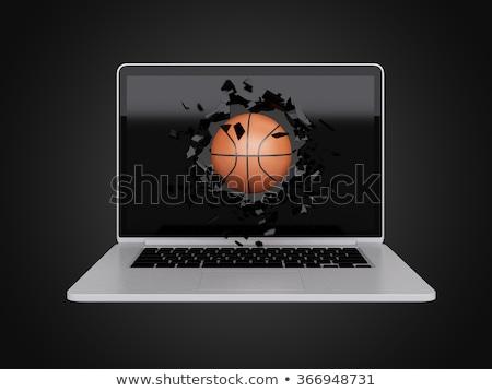 basketbal · laptop · technologie · sport · computer · mobiele - stockfoto © teerawit