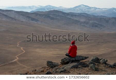 Kadın kırmızı ceket mesafe dağlar Stok fotoğraf © kb-photodesign