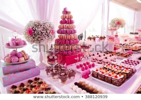 Sobremesa tabela aniversário casamento festa de aniversário comida Foto stock © artfotodima