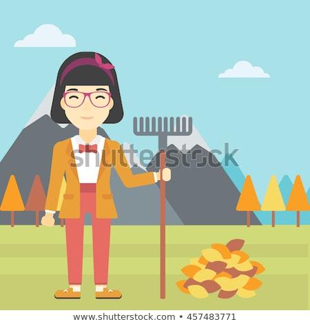 woman with rake standing near heap of autumn leaves stock photo © rastudio