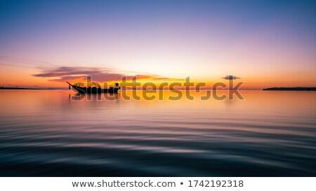 Photo stock: Pêcheur · bateau · coucher · du · soleil · été · temps · ciel