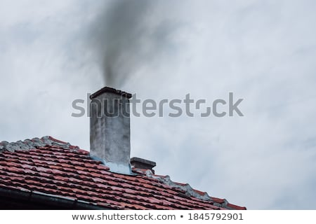 füst · ház · kémény · tél · nap · cső - stock fotó © stevanovicigor
