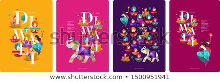 beautiful happy diwali diya greeting card Stock photo © SArts