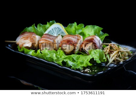 Beef kebab with vegetables and rosemary seasoning on a white plate Stock photo © frimufilms