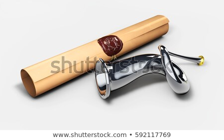 horn and royal decree. Sketch post horn. 3d illustration Stock photo © tussik