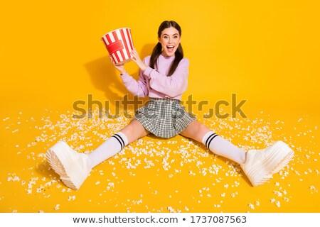 derűs · lány · ül · padló · kockás · fotó - stock fotó © deandrobot