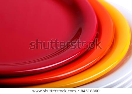 ディナー プレート 青 エッジ セラミック クリーン ストックフォト © Digifoodstock
