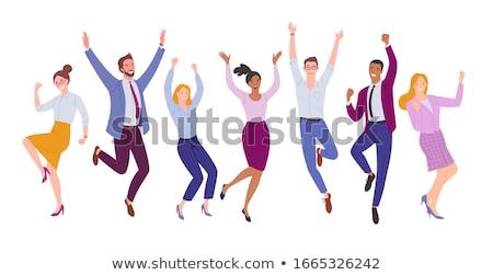 Jonge zakenman vieren succes handen omhoog lucht Stockfoto © feedough