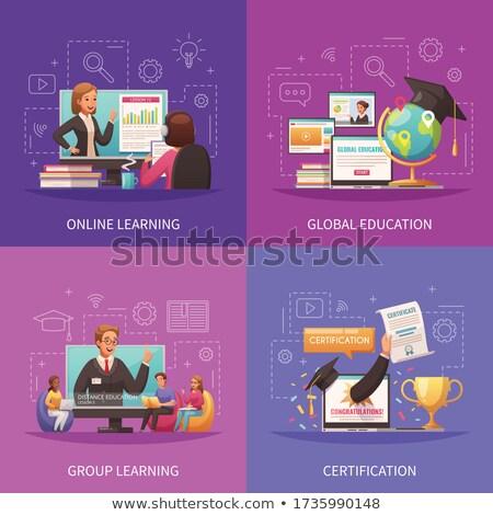 Diploma kép papír könyv alma terv Stock fotó © clairev