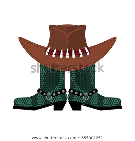 Australijczyk hat krokodyla skóry buty cowboy Zdjęcia stock © popaukropa