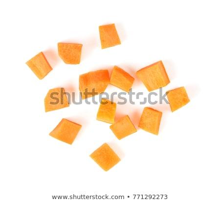 Halom aprított sárgarépa fehér friss Stock fotó © Digifoodstock