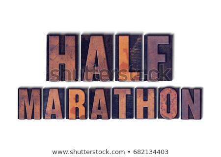 Marathon geïsoleerd woord geschreven vintage Stockfoto © enterlinedesign