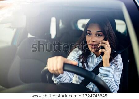 Gyönyörű szomorú nő autó portré ül Stock fotó © Anna_Om